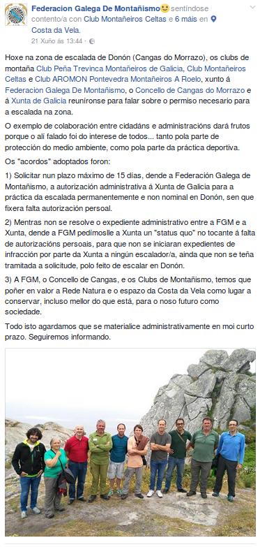 Xuntanza coa Xunta de Galicia sobre a escalada en Donón. Fonte: https://www.facebook.com/440380579375577/photos/a.440416502705318.1073741826.440380579375577/1387432714670354/?type=3